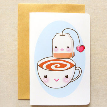 "Afternoon Tea Time Invitation 4""x6'' Notecard - Cute Tea Party Greeting Card - Kawaii Tea Bag Illustration, Blank Notecards, Cute Stationery"