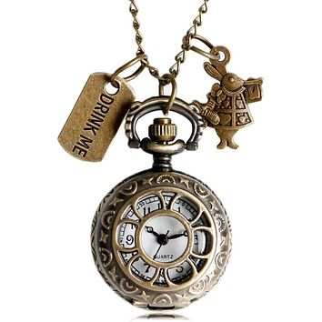 Hollow Retro Vintage Bronze Alice in Wonderland Drink Me Pocket Watch Necklace Cosplay Anime Watch for Fans