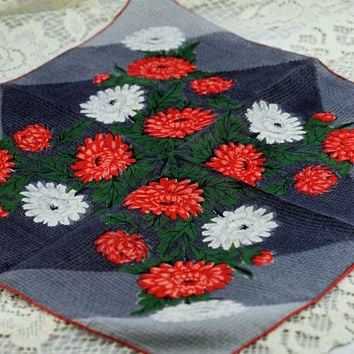 Vintage Hankie  Stunning - Orange and White Flowers on Gray Background and Deep Green Leaves  #F-53