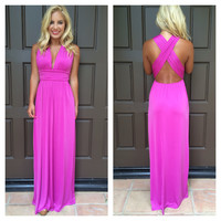 Dancing With The Stars Maxi Dress - FUCHSIA