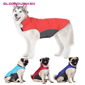 Glorious Kek Large Dog Clothes Waterproof Winter Dog Raincoat Outdoor Jacket Pet Coat for Pugs Husky Pitbull Fleece Lining S-5XL