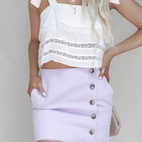 Reckless Heart Lavender Button Overlay Skirt