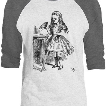 Big Texas Alice in Wonderland - Drink Me (Black) 3/4-Sleeve Raglan Baseball T-Shirt