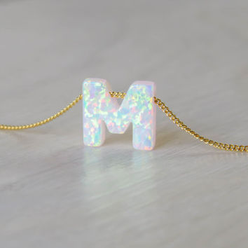 Opal necklace, opal letter necklace, opal gold necklace, opal jewelry, tiny dot necklace, opal bead necklace, dot necklace, white opal
