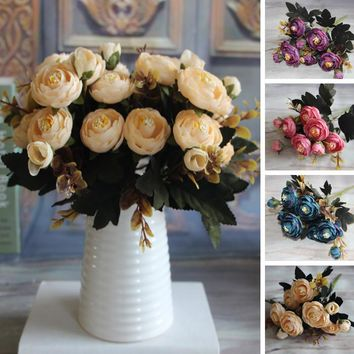 New Hot Vivid Autumn Artificial Fake Peony Flower Posy Home Hotel Room Bridal Wedding Hydrangea Decor Real Touch