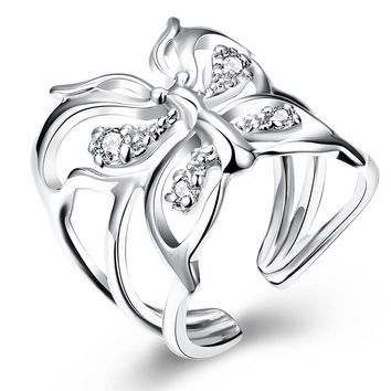 Butterfly Zircon Silver Plated Finger Ring
