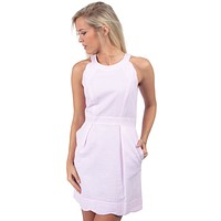 The Landry Seersucker Dress in Pink by Lauren James