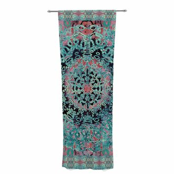 "Nina May ""Maiji Mandala Aqua"" Teal Coral Ethnic Abstract Mixed Media Painting Decorative Sheer Curtain"