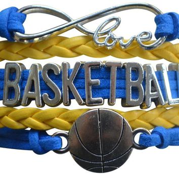 Girls Basketball Infinity Charm Bracelet - Yellow