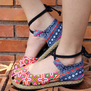Vegan Womens Espadrille With Ankle Wrap Flat Shoe, Hmong Embroidery & Batik,
