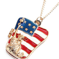 Patriotic American Flag Locket Necklace