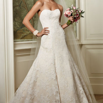 Wtoo by Watters Philomena 13115 Strapless Satin and Lace Wedding Gown