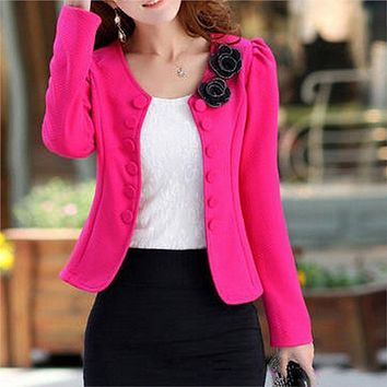 2016 KSFS New Women's Fashion Slim Jacket Suit Blazer Long Sleeve Short Coat Outerwear Hot Sale
