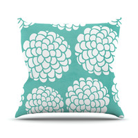 "Pom Graphic Design ""Hydrangea's Blossoms"" Teal Circles Outdoor Throw Pillow"