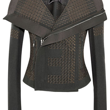 Rick Owens - Sequined wool-blend biker jacket