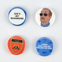 Herman Blume  Buttons, Rushmore Badge Set! Bill Murray,  I saved latin & other quotes,  jason schwartzman, wes anderson