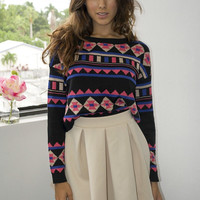 Abstract Print Cropped Sweater