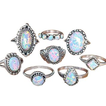 8Pcs Rings Set Natural Gemstone Fire Opal Diamond Ring Wedding Engagement Jewelr