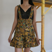Womens Vintage 90's  high waist Pinafore romper // geometric print // PINAFORE ROMPER // gold purple & teal // suspenders/ Romper Size Small
