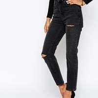 ASOS Farleigh High Waist Slim Mom Jeans in Washed Black with Thigh and Knee Rip