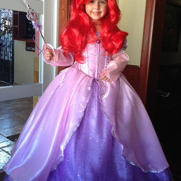 The Little Mermaid Ariel Disney Princess mermaida play glitz pageant masquerade ball gown pink cosplay graduation dress quinceanera costume