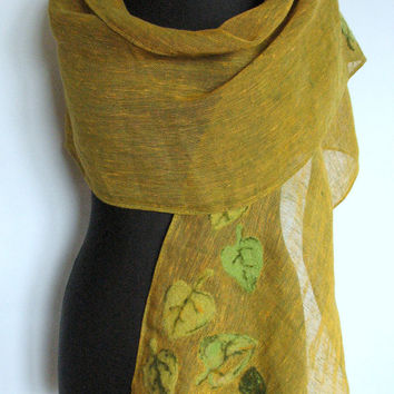 Natural Linen Scarf Mother's Felted Wool Green Shawl Scarf
