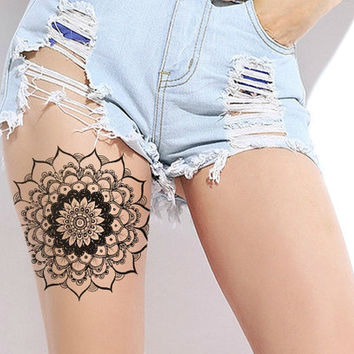 Large Mandala Tattoo - Black Mandala, Henna Mandala, Temporary Tattoo, Large Tattoo, Original Mandala Drawing - NO. Q02