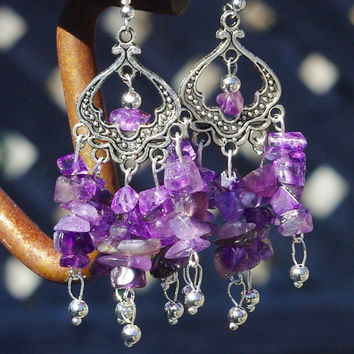 Amethyst Chip Stone Earrings ~ Natural Amethyst ~ Boho Earrings ~ Bohemian Jewellery ~ Healing Stones ~ February Birthstone ~ Gift for Mom