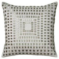 """Rizzy Home Sequined Shimmer Decorative Throw Pillow - Ivory/Silver (18""""x18"""")"""
