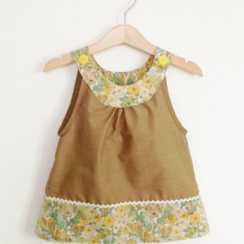 Sleeveless baby girls top, 18-24 months, vintage fabric, yellow flowers, retro baby, toddler top, retro kids, Etsy UK