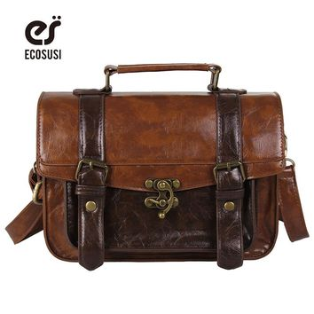 ECOSUSI Preppy Style Women Briefcase Classic Mori Girl Women Leather Satchel Handbags Leisure Portable Women Messenger Bags