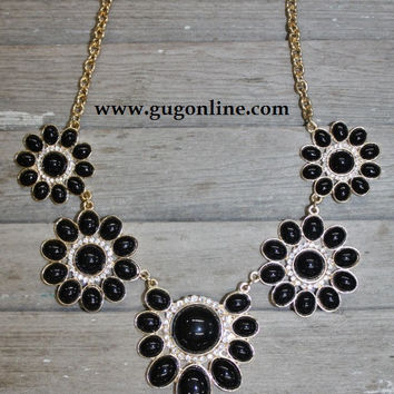 Black and Gold Flower Necklace