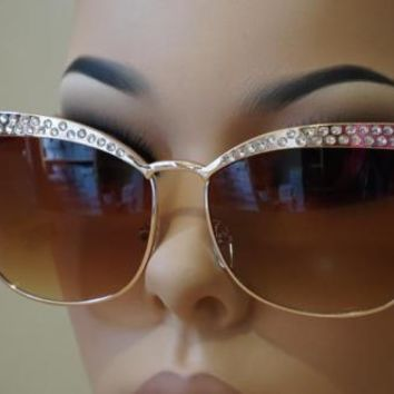 "Elite Rhinestones ""Miss Sexy Sparkle"" Cat Eye Style Sunglasses Women Glasses"