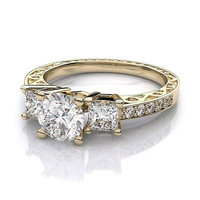 AMAZING 1.95CT WHITE ROUND STUD 925 STERLING SILVER ENGAGEMENT AND WEDDING RING