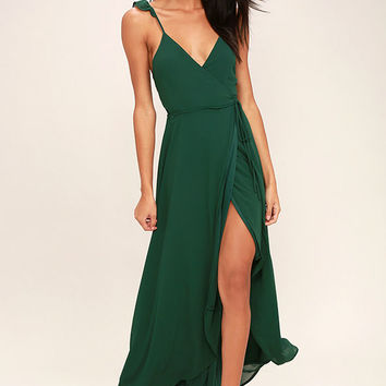 Here's to Us Forest Green High-Low Wrap Dress