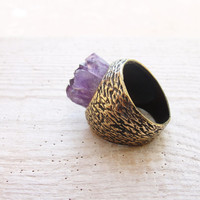 Druzy Amethyst Ring Hand formed Bronze Statement jewelry