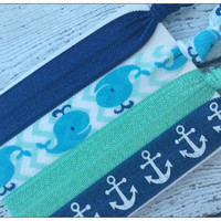 Whale and Anchor HAIR TIE or HEADBAND Set - 4 Pack