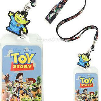 Licensed cool Disney Toy Story COWBOY WOODY & BUZZ  Pin Lanyard ID Card Holder ALIEN Charm NEW