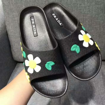 One-nice™ PRADA flower Casual Sandal Slipper Shoes Flip flop yellow green H-ALXY JL