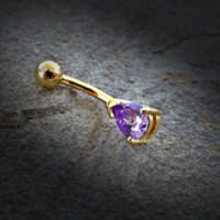 Tanzinite Tear Drop CZ 14kt Gold Plated Navel Ring 14ga Belly Button Ring Body Jewelry