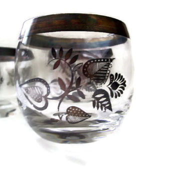 Mid Century Roly Poly Glasses Georges Briard Silver Flowers Mad Men-esque Set of 4