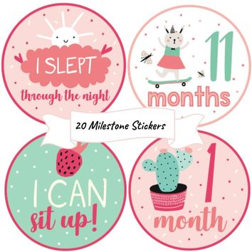 Baby Girl Monthly Stickers - (set of 20) all 12 months and 8 special milestones