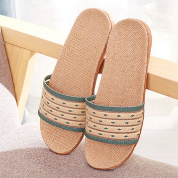 Ethnic Style Linen Slipper Shoes Sandals