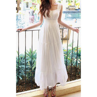 Refreshing Square Neck Sleeveless Solid Color Elastic Waist Maxi Dress For Women