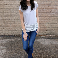 Crochet Hem Knit Top