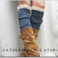 Nordic Lace Boot Sock in Denim Something really special for your tall boots  tweed cable knit long knee socks w/ 2 buttons, cotton lace
