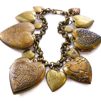Pididdly Links, Charm Bracelet, Heart Locket, Heart Charms, Puffy Heart, Gold Lockets, Antique Style, Victorian Revival, Vintage Jewelry