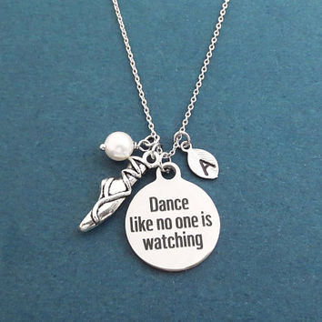 Personalized, Letter, Initial, Dance like no one is watching, Toe shoes, Pearl, Silver, Necklace, Ballet, Dance, Gift, Jewelry