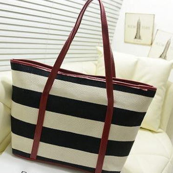 Jet Set Travel Striped Saffiano Tote