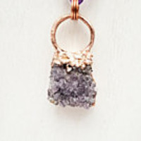 Raw Amethyst Druzy Cluster Electroformed Electroplated Copper Statement Pendant Necklace